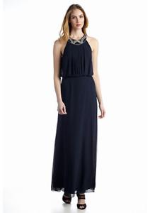 NEW MUSE EMBELISHED NAVY BLUE MAXI DRESS SIZE 10 $148