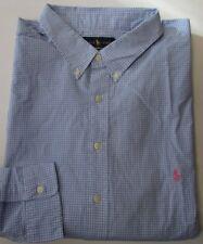 SALE NWT Ralph Lauren Button Down Dress Shirt Classic Fit Blue/White BIG 4XB