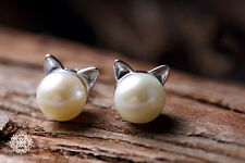 Cute Kitty Cat Ears Natural Pearl Stud Earrings 925 Sterling Silver Fox Ears