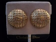 Christian Dior Round Gold Plated Clip Earrings