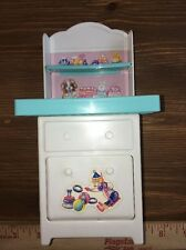 """Barbie Baby 8"""" Changing Table W/Pullout Bin Blue Toy Storage Nursery Furniture"""