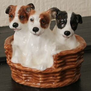 Royal Doulton Terrier Dog Puppies In A Basket Figurine HN2588