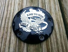 (NEW) Black w/Chrome Eagle Live to Ride 5 Hole Timer Point Cover Harley 99 later