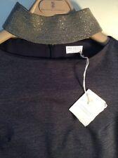 New and Authentic Brunello Cucinelli Wool Jersey dress w Monili   XS