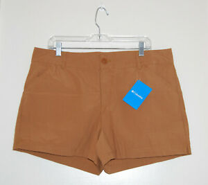 """NWT Columbia Women's Camel Brown Washed Out 4"""" Inseam Chino Shorts sz 16"""