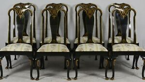 Set of 8 BAKER Furniture STATELY HOMES Queen Anne Chairs Chinoiserie Decorated