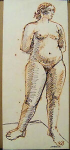 """""""RELAXED NUDE"""" by Ruth Freeman  INK 10 1/4"""" X 23 3/4"""""""