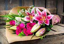 Fresh Flower Delivery ROSE & LILIES BOUQUET FREE MESSAGE CARD flowers