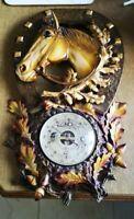 Kitsch FRENCH Vintage 60s Plastic Horse Head Horse Shoe Weather Sabre Barometer