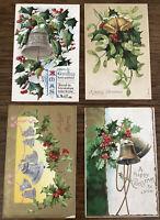 4 Vintage Christmas Postcards Silver Bells Gold Bells Holly Mistletoe
