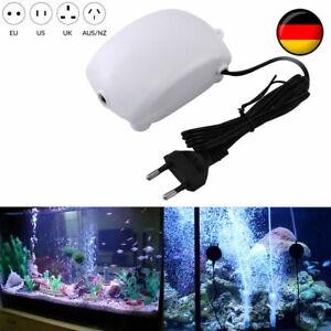 Leise Aquarium Luftpumpe Sauerstoff Durchlüfter+Blase Stein Tank Oxygen Luftpump