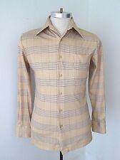 Vgc Vtg 70s Jc Penney Beige Brown Check Polyester Knit Disco Pimp Shirt M
