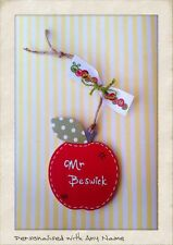 Thank you Teacher Gift - Classroom Sign Personalised Room Apple Name plaque wood