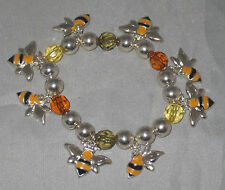 """Bees Bracelet Stretchy Fits 7"""" Wrist New Black Yellow Silver Tone"""
