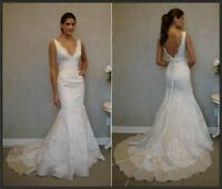 White Ivory Mermaid Wedding Dress / Bridal Gown /Custom All Size