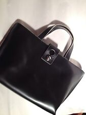 pre-owned Authentic FURLA black leather TOTE totebag PURSE pocketbook BAG