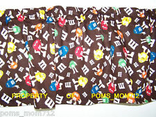 LINED VALANCE 42X12 CLASSIC M&M GANG ON BROWN FABRIC CANDY M&MS CHOCOLATE