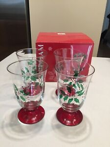"Gorham ""FESTIVE HOLLY""  All Purpose Glasses Goblets ~ 15 oz.~ Set of 4 ~ 6"" Tall"