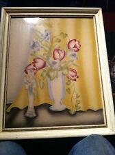 VINTAGE  TERONE PICTURE PRINT W FRAME FLORAL ORANGEMENT Air Brush