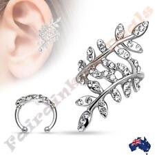 316L Surgical Steel Multi Paved Clear CZ Gem Leaflet Ear Cuff