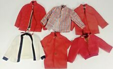 Ken Doll Clothes Red Coat Jacket -White Sweater -Striped Shirt Lot Of 6 Barbie