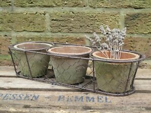 Vintage Style Windowsill Planter Herb Container, 3 Terracotta Pots in a Basket