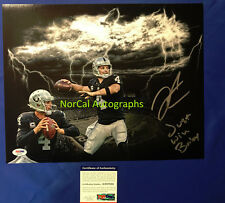 "Derek Carr Signed Auto 11x14 Photo Oakland Raiders ""JUST WIN BABY"" PSA/DNA COA G"
