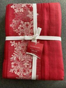 Williams Sonoma Snowfall Jacquard  70 X 126 tablecloth Christmas Holiday New!