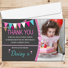 10 Personalised Girls Heart Bunting Birthday Party Thank you PHOTO Cards N245