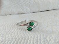 Vintage Taxco Mexico Sterling Silver Bypass Hinged Bracelet Green Jade, 31 grams