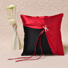 Black & Red Satin Crystal Wedding Ring Pillow Bridal Accessories Favors GB15