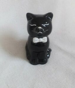 """Very Sweet Black Cat in a Bowtie Ceramic Ornament! Approx  3.75"""" High"""