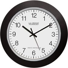 La Crosse 10 Inch Atomic Automatic Set Analog Indoor Wall Clock Black US Seller