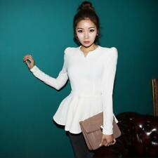Women's Korea Long Puff Sleeve Shirt Party Ruffle Peplum Ladies Tops Blouse S8j8 Beige XL (us8 Uk12 Eu38)
