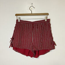 American Eagle Outfitters Red Striped Tie Up Sides Shorts Size M