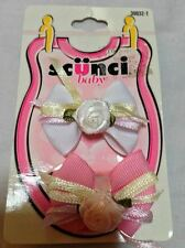 Authentic Scunci Baby Bow Barettes Flower Flexible Rose Pink White HeadBand New