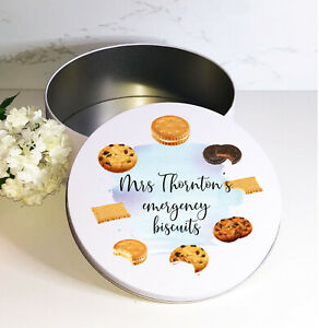 Biscuits, personalised, round white biscuit sweets cake, metal tin