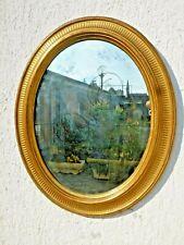 Rara specchiera Primo '800 a FOGLIA ORO ovale 89x72 dorata restaurata cornice n6