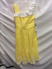 NWT! RARE EDITIONS YELLOW  & WHITE SIZE 10 DRESS, WITH FLOWER ON SHOULDER
