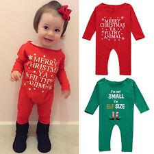UK Newborn Baby Girl Xmas Clothes Bodysuit Infant Romper Jumpsuit Outfit Sunsuit