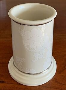 RALPH LAUREN Holder White Flowers Ivory Ceramic Silver Braid Toothbrush Vase RLL