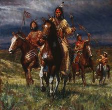 Western american indians Oil Painting HD Print On Canvas Art NO FRAME 24by24 H12