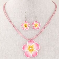 Plumeria Clay Boho Flower Pendant Necklace Earrings Set Gifts Women  Hot Jewelry