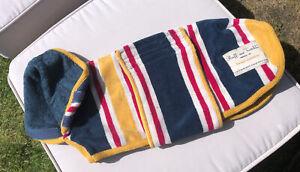 Ruff And Tumble Dog Drying Coat size XS Beach Stripy Newmarket Towelling 5-7 Kg