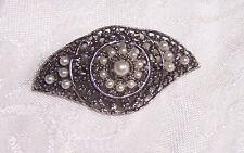 Vintage marcasite bar PIN BROOCH black pearl silver-tone square