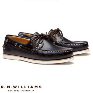 RM Williams Mens Barham Boat Shoe Navy Size 10 rrp$220