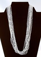 "Multi Strand Clear White Glass Seed Bead Beaded Necklace 20"" Elegant Sparkly"