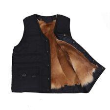 Men Winter Sheepskin Fur Waistcoat Thick Vests Gilet Outwear Pocket Jacket Black