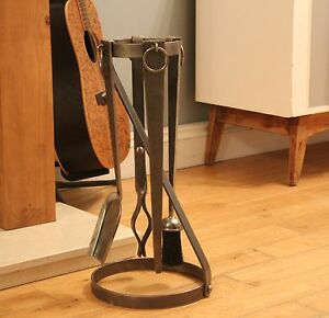 Wrought Iron Companion Set (Log burner, Log Holder, Fire Tolls)