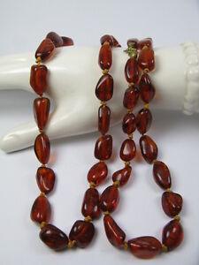 Vintage Bernstein Halskette / Kette 77 cm, 25,7 Gramm - Old Necklace amber